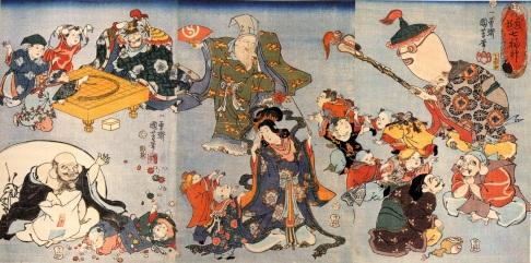 Les sept divinités : Benzai-ten, Bishamon-ten, Daikoku-ten, Ebisu, Fukurokuju, Hotei et Jurôjin.
