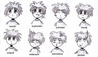 Huit types d'émotions tirées d'un manga, incluant (de gauche à droite) : neutralité, euphorie, joie, tristesse, férocité, déception, gêne et perplexité.